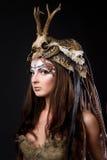 Portrait of the female viking. Awesome body art studio work Royalty Free Stock Photos
