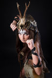 Portrait of the female viking Royalty Free Stock Images
