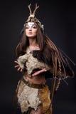 Portrait of the female viking Royalty Free Stock Image