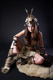 Portrait of the female viking. Awesome body art studio work Stock Photography