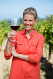 Portrait of female vintner holding glass of wine Royalty Free Stock Photo