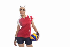 Portrait of Female Volleyball Player Equipped in Professional Sp Royalty Free Stock Photography