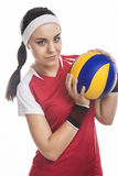 Portrait of Female Volleyball Player Equipped in Professional Sp Royalty Free Stock Photos