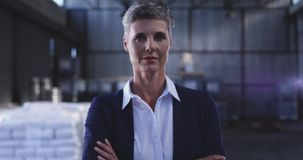 Portrait of a female warehouse manager 4k stock video