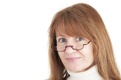 Portrait of a female wearing reading glasses Royalty Free Stock Photo