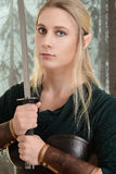 Portrait of female wood elf Stock Images