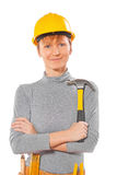 Portrait of female worker holding  claw hjammer isolated on whit Stock Photos