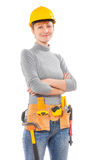 Portrait of a female worker with tools isolated on white backgro Royalty Free Stock Photos