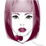 Portrait femelle avec la cerise Photos stock