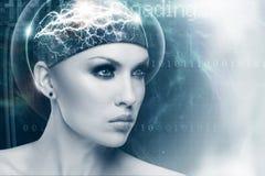 Portrait femelle de la science fiction abstraite pour votre conception image stock