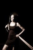 Portrait femelle de tennis en noir et blanc Image stock