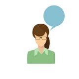 Portrait femelle Person Silhouette Face occasionnel de bande dessinée de femme d'avatar d'icône de profil Images stock