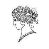 Portrait femelle, silhouette noire pour votre conception illustration stock