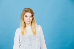 Portrait of feminine blonde young woman Royalty Free Stock Images