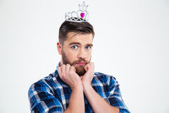 Portrait of a feminine man in queen crown Royalty Free Stock Images