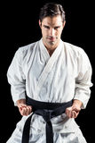 Portrait of fighter performing karate stance Royalty Free Stock Photos