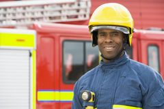 Portrait of a firefighter Stock Photos