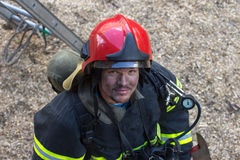 Portrait of a fireman on the stage Stock Photos