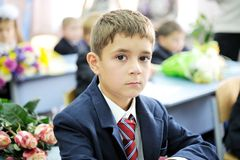 Portrait of first-grader boy sitting at his desk Royalty Free Stock Photography