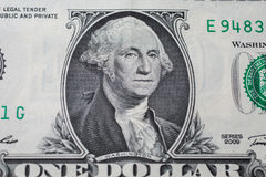 Portrait of the first president of the United States, the US founding father George Washington. On the one dollar bill, background of the money, one dollar royalty free stock images