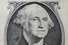 Portrait of the first president of the United States, the US founding father George Washington on the one dollar bill Stock Photos