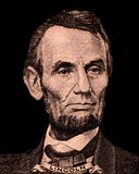 Portrait of first U.S. president Abraham Lincoln. Isolated on black royalty free stock photos