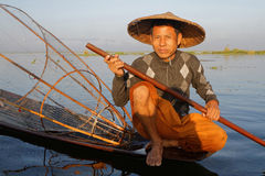Portrait of a fisherman of Inle Lake Stock Photos