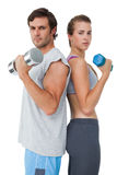 Portrait of a fit couple exercising with dumbbell Stock Photos