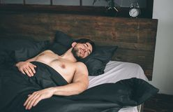 Portrait of fit male model asleep in luxurious bedroom bathed in bright warm morning window light.  Royalty Free Stock Photo