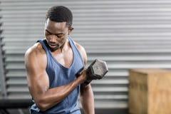 Portrait of fit man lifting dumbbells Stock Photo