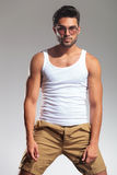Portrait of a fit man in undershirt and glasses Stock Photography