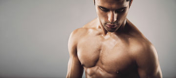 Portrait of fit masculine man looking down. Portrait of fit masculine shirtless man  looking down. Wide panoramic crop with copy space. Workout and fitness theme Stock Photos