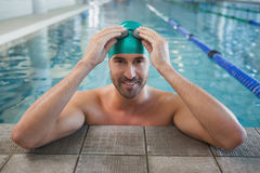 Portrait of a fit swimmer in the pool Royalty Free Stock Photos