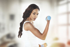 Portrait of a  fit young lady working out with dumbbells. Vintag Stock Image