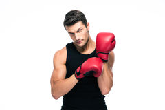 Portrait of a fitness man wearing red boxing gloves Stock Photo
