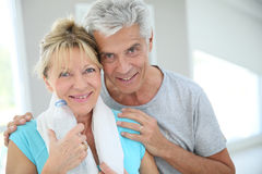 Portrait of fitness senior couple. Portrait of senior couple in fitness outfit Royalty Free Stock Photo