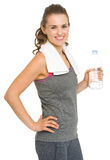 Portrait of fitness woman with bottle of water Stock Image