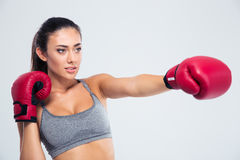 Portrait of fitness woman boxing in gloves Royalty Free Stock Image