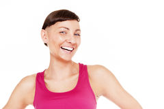 Portrait of fitness woman isolated over white background. Smilin Royalty Free Stock Images