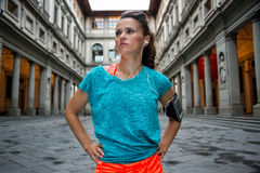 Portrait of fitness woman near uffizi gallery in florence, italy Royalty Free Stock Image