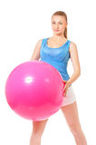 Portrait of fitness woman with pink fitness-ball Royalty Free Stock Photography