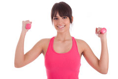 Portrait of a fitness woman working out with free weights Royalty Free Stock Photo