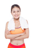 Portrait of fitness young asian woman with towel on White. Stock Photos