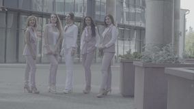Portrait of five business women outdoors. Portrait of five attractive business women posing near business centre. Summer day. No grading version black and white stock video