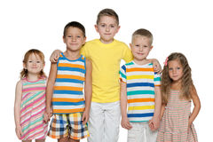 Portrait of five cheerful children Stock Images