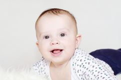 Portrait of the five-months laughing baby Stock Photography