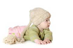 Portrait of five months old baby girl wearing Royalty Free Stock Images