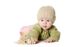 Portrait of five months old baby girl wearing Stock Images