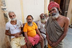 Portrait of five Sadhus men in Jaipur. JAIPUR, INDIA, October 27, 2017 : Portrait of Sadhus. A sadhu is a religious ascetic, mendicant or any holy person in Stock Photos