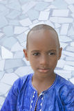"Portrait of a five-year-old boy wearing a blue ""boubou"" Stock Photo"
